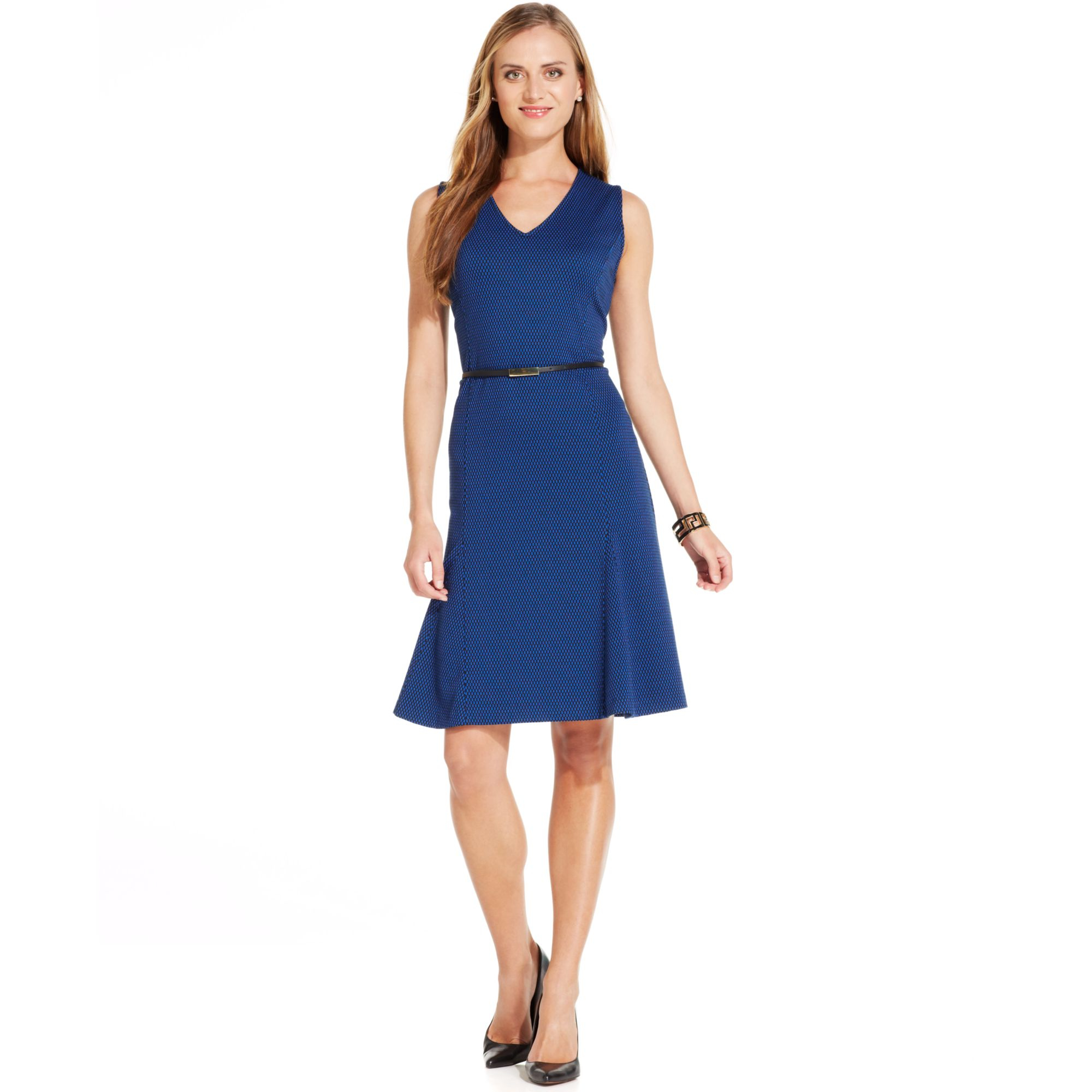 Jones new york sleeveless printed belted fit flare dress for New york and company dress shirts