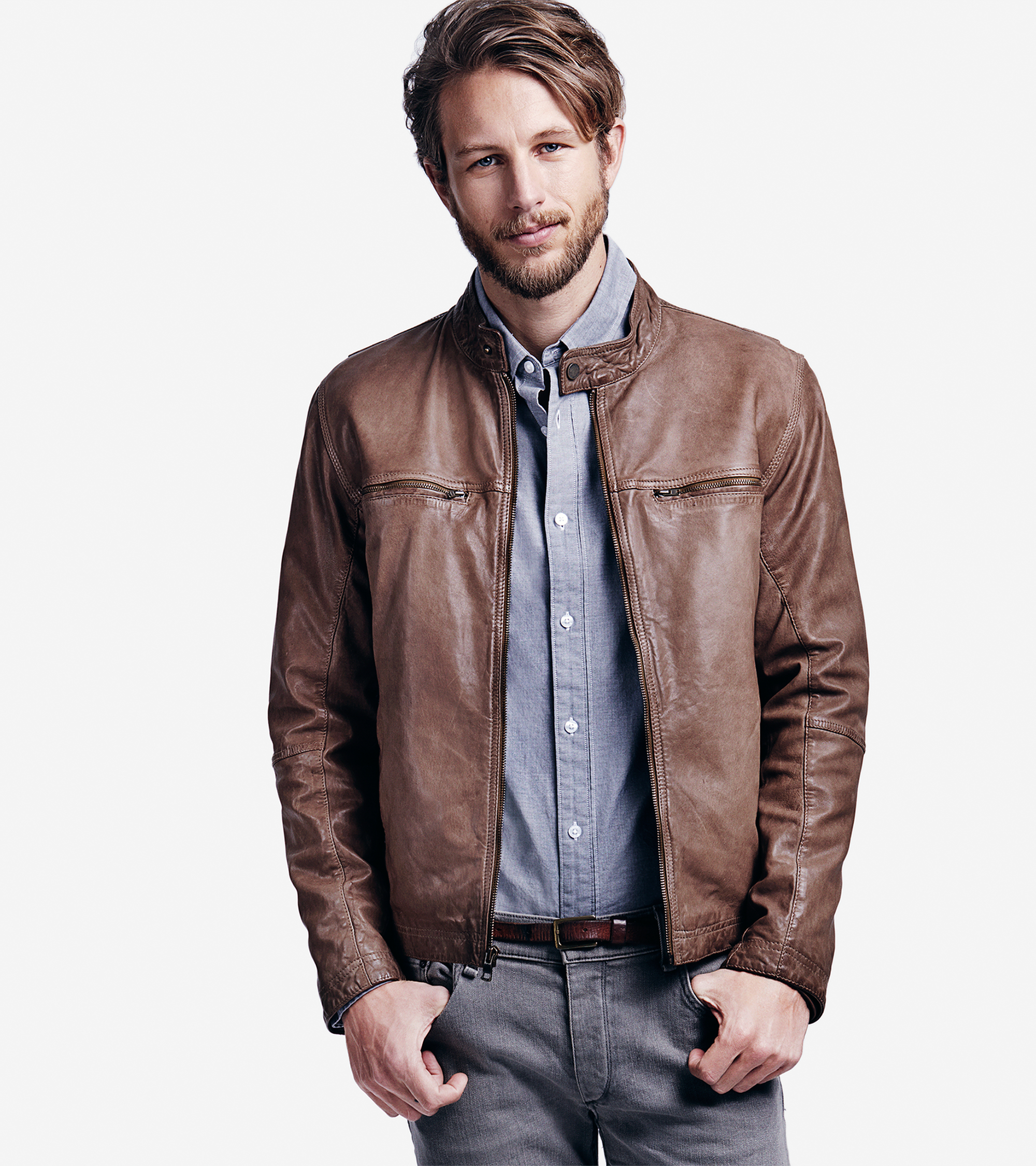 Cole haan Vintage Lamb Moto Jacket in Brown for Men | Lyst