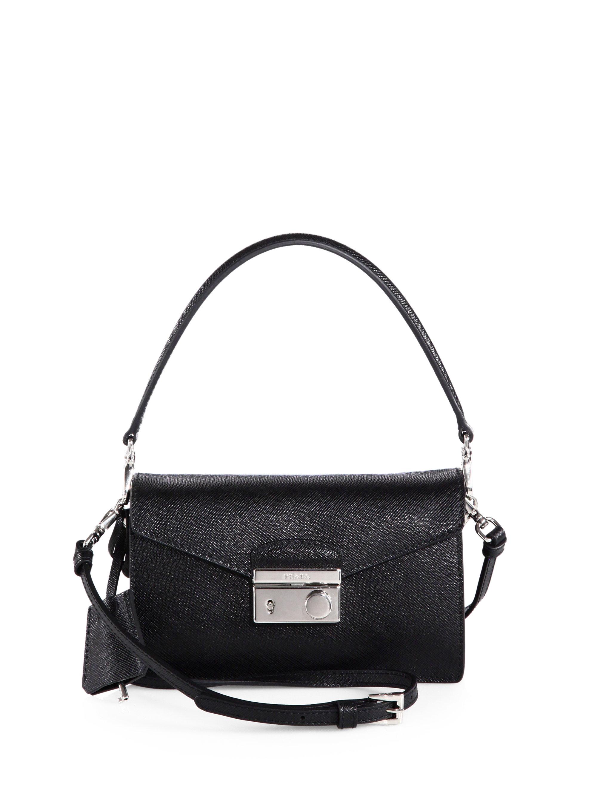 367315bd520b ... coupon code for lyst prada saffiano leather mini sound crossbody bag in  black 9a825 98367