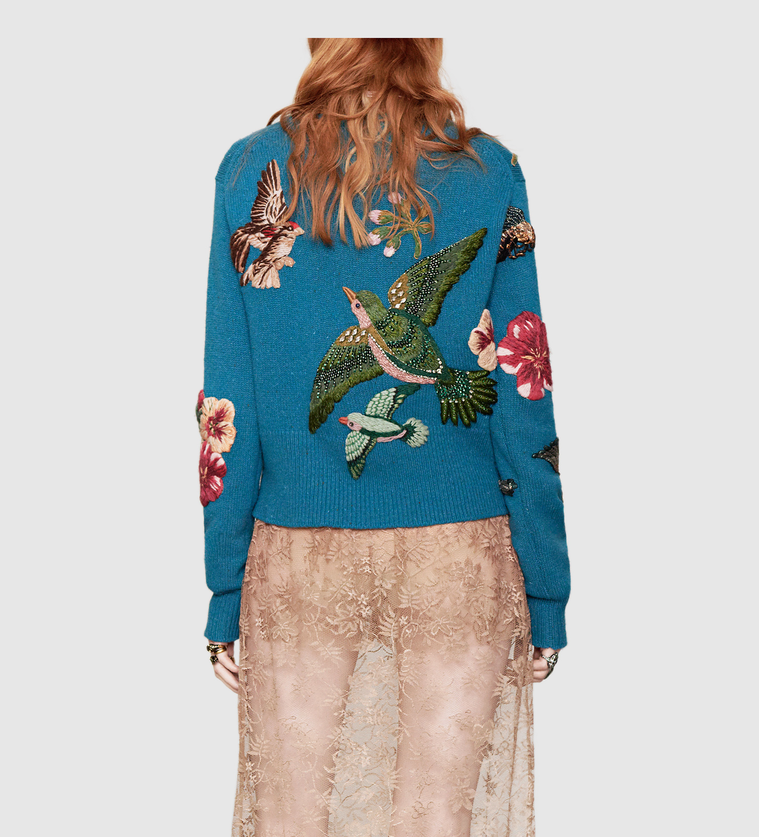 Gucci Embroidered Wool Sweater In Blue Lyst