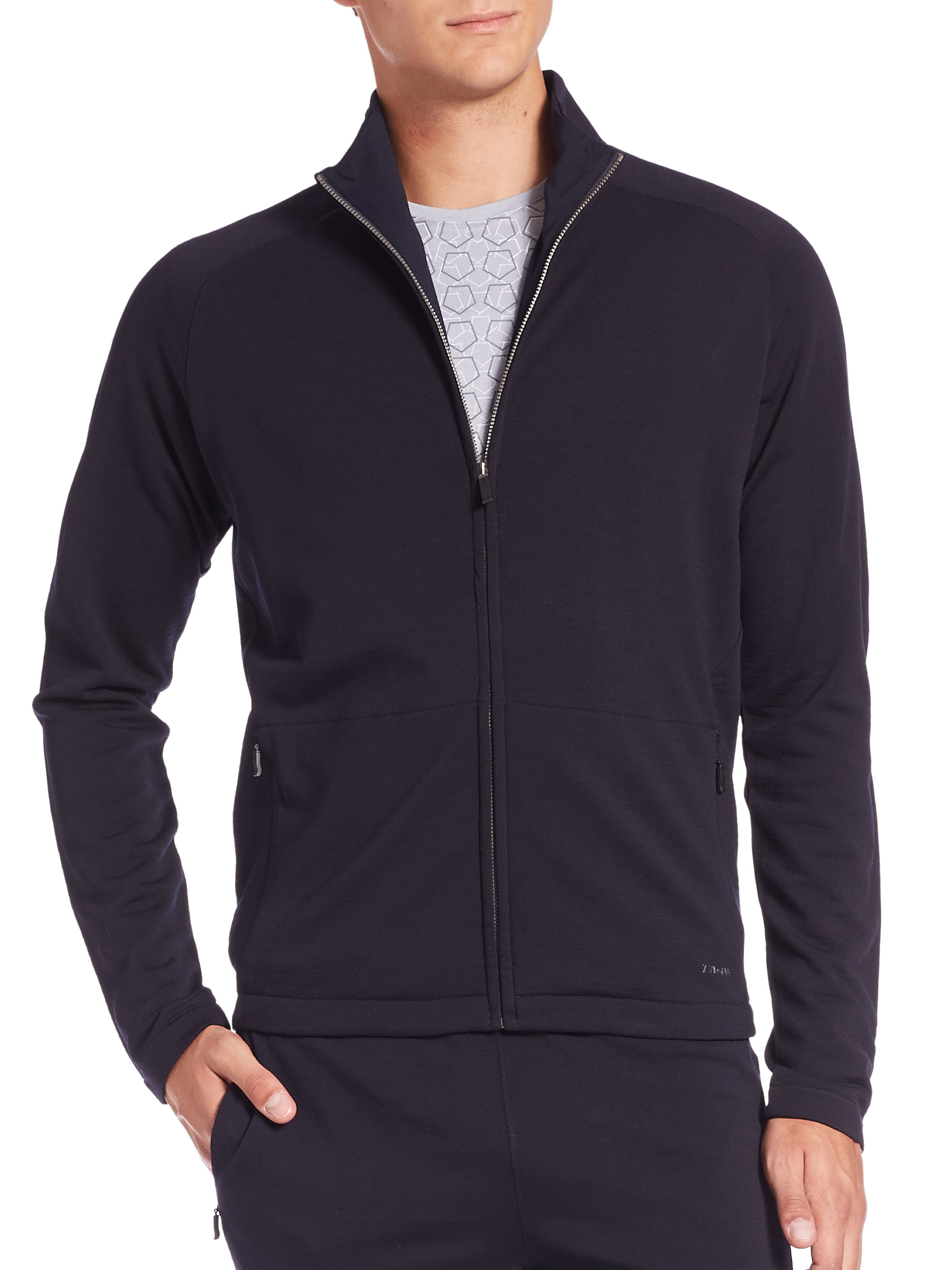 Z zegna Full Zip Techmerino Sweatshirt in Blue for Men | Lyst