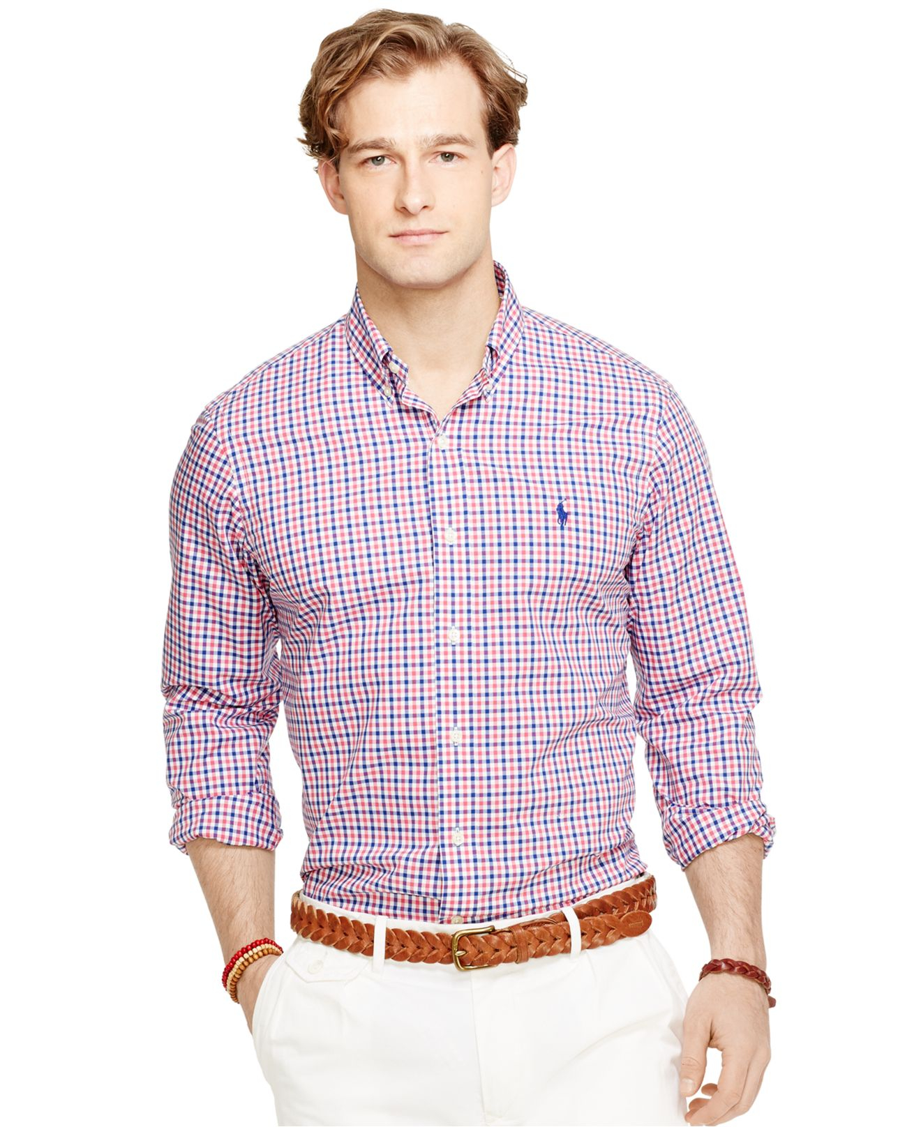 Lyst polo ralph lauren checked poplin shirt in red for men for What is a poplin shirt