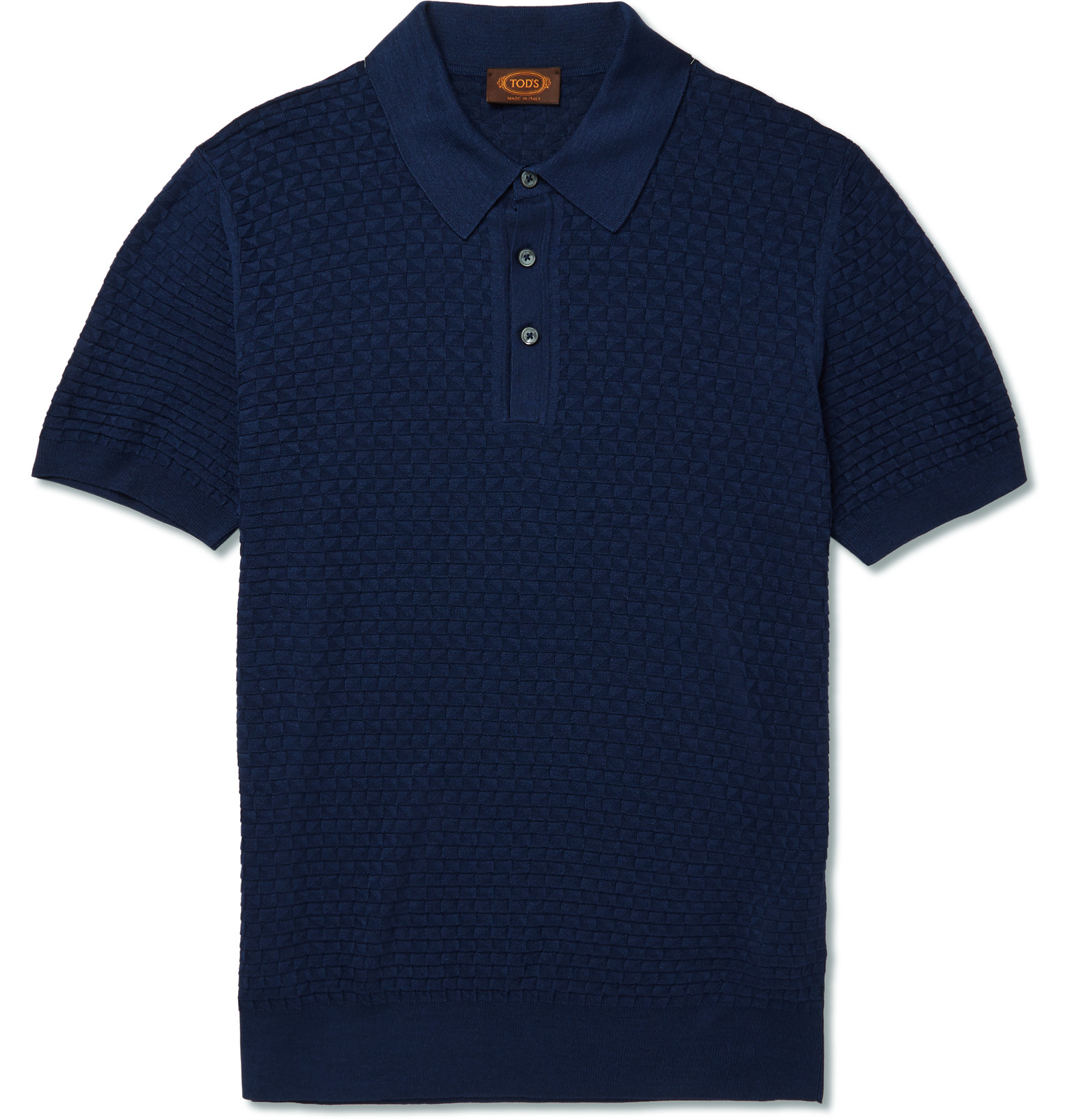 Lyst Tod 39 S Slim Fit Knitted Silk Polo Shirt In Blue For Men