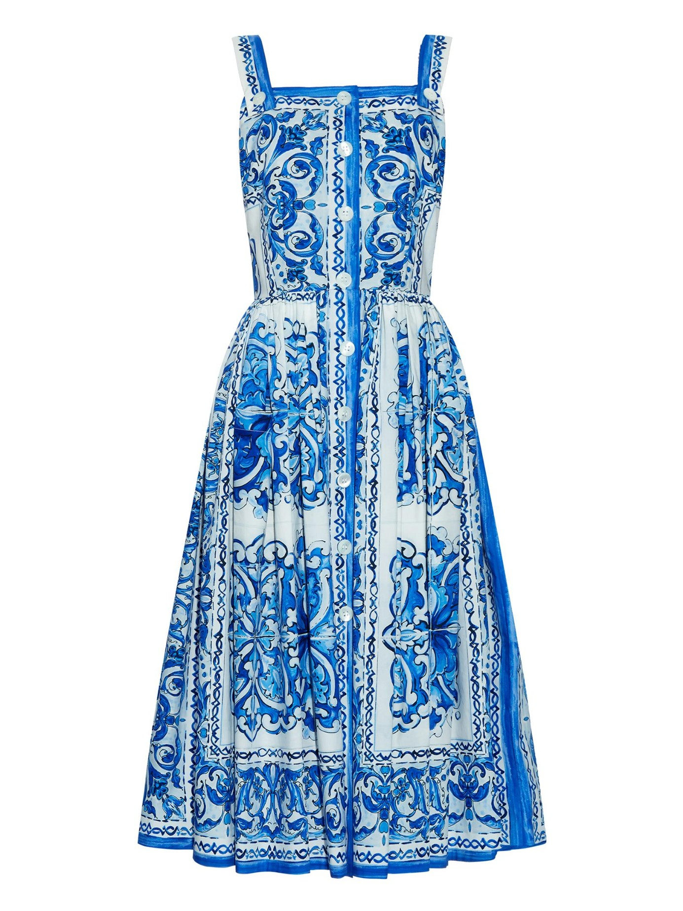 Lyst Dolce Amp Gabbana Printed Cotton Dress In Blue