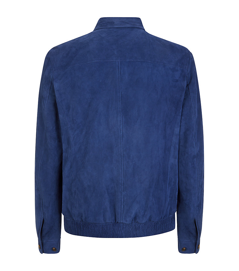 Aquascutum Carnaby Suede Jacket in Blue for Men