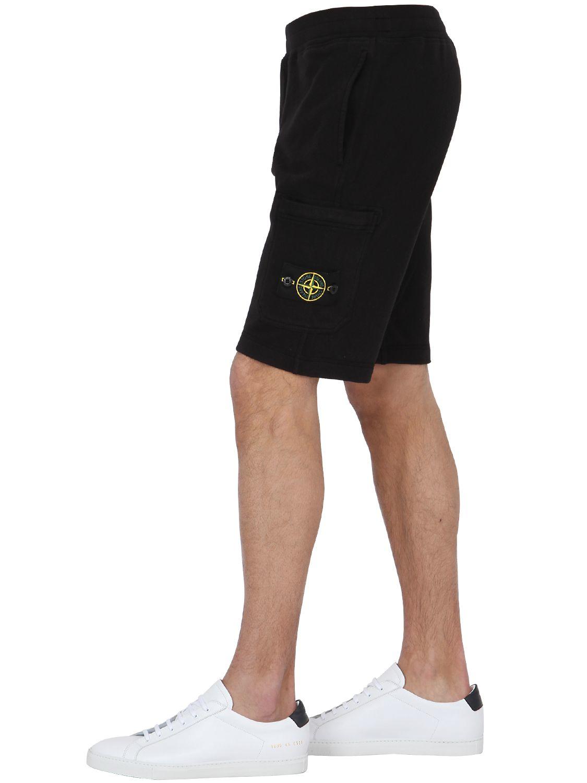 stone island malfile cotton jogging shorts in black for. Black Bedroom Furniture Sets. Home Design Ideas