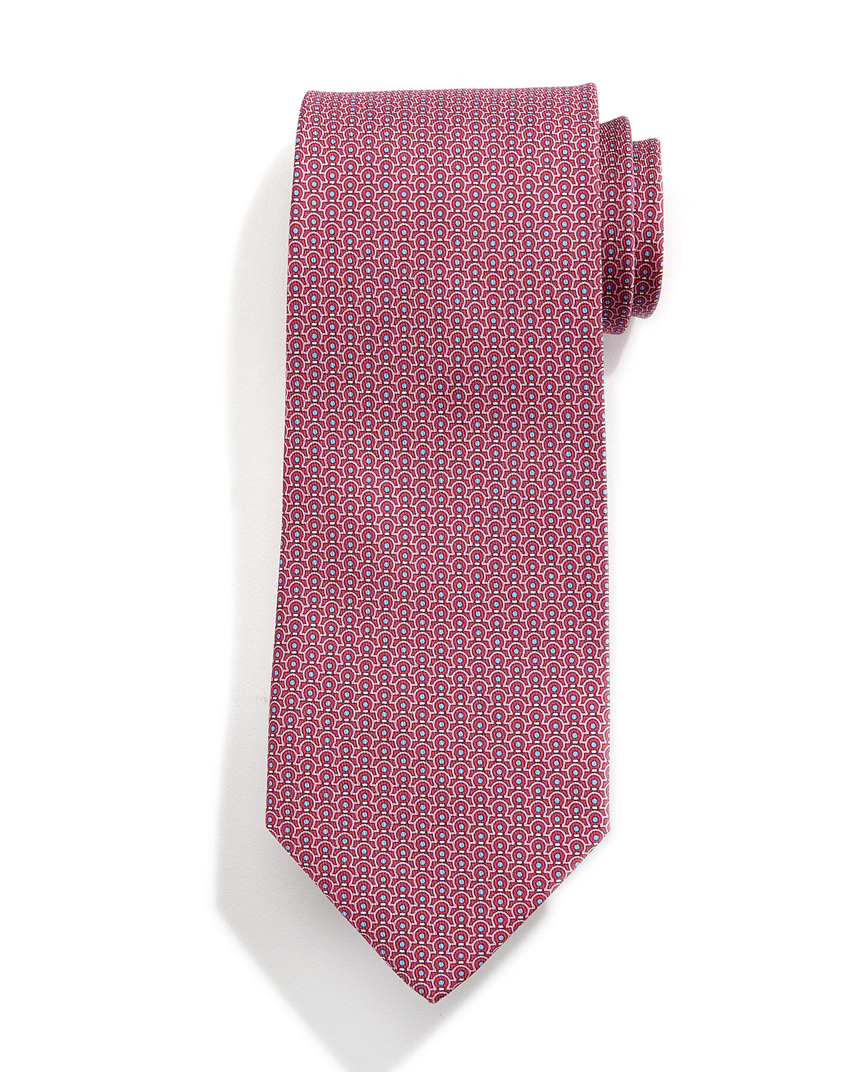 Ferragamo Gancini-print Silk Tie in Red for Men - Lyst