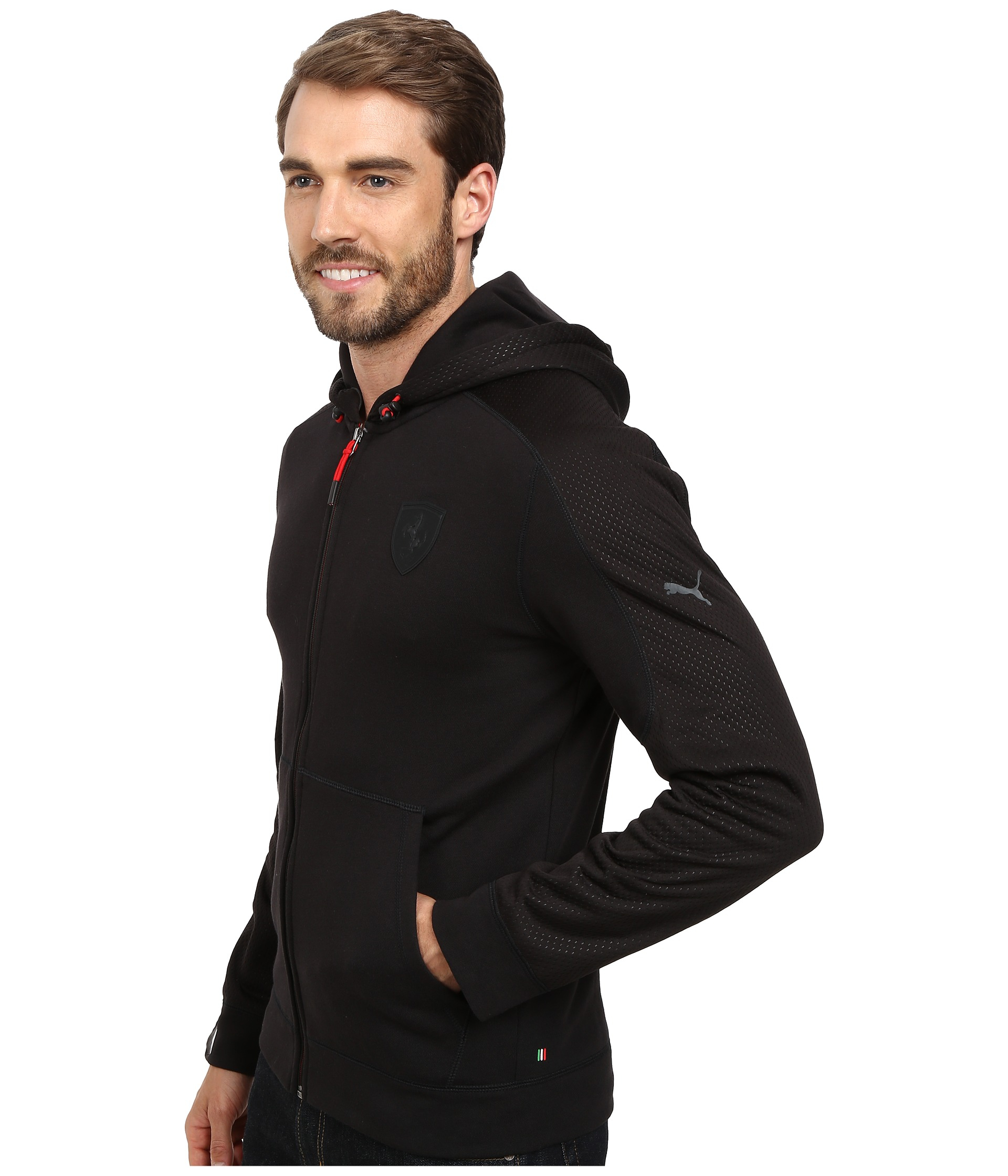 puma ferrari hooded sweat jacket in black for men black 2. Black Bedroom Furniture Sets. Home Design Ideas