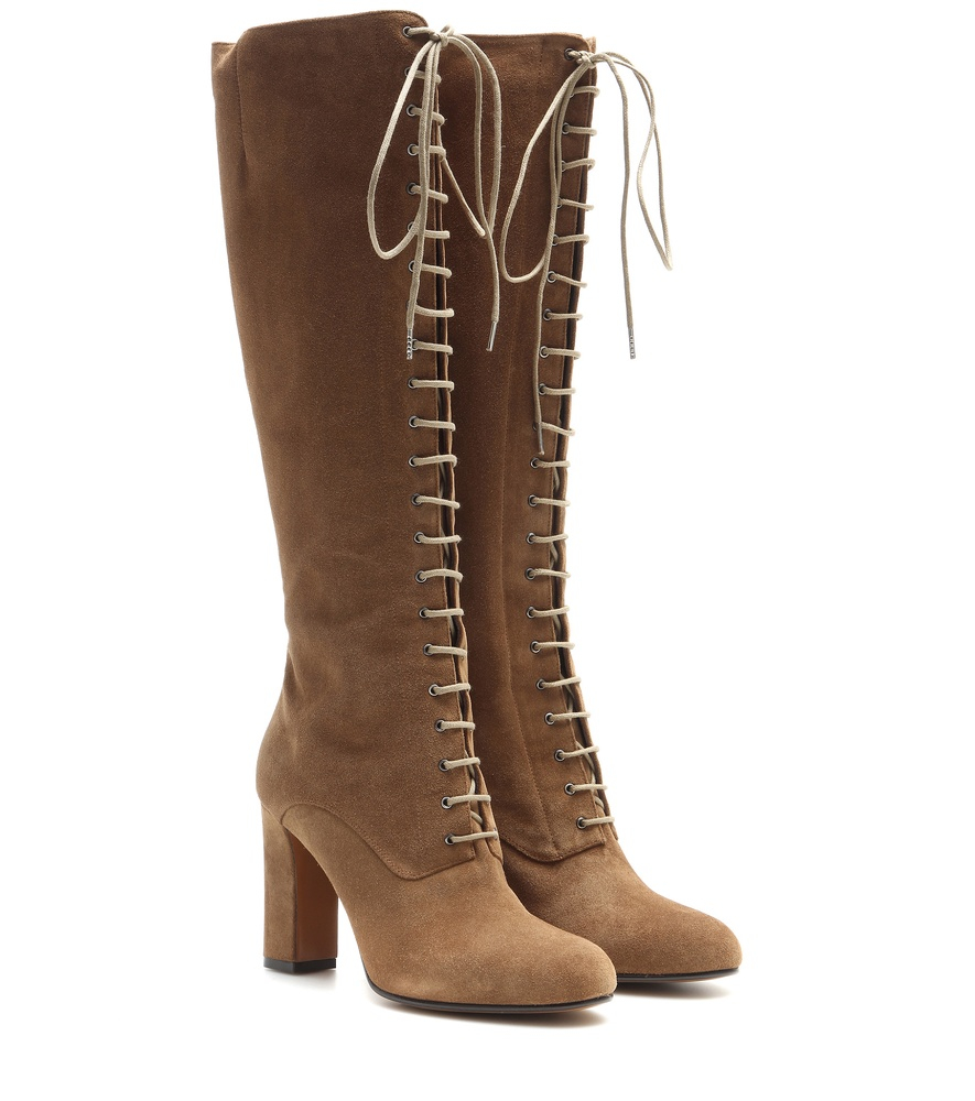 etro suede lace up knee high boots in brown lyst
