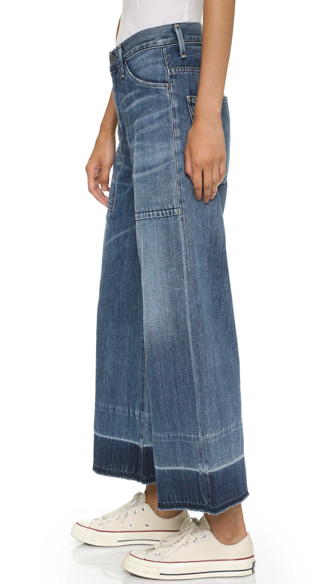 Citizens of Humanity Denim Melanie Cropped Wide Leg Jeans in Blue