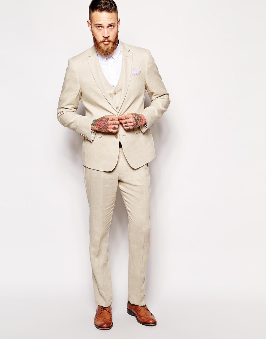 Asos Slim Fit Suit Jacket In 100% Linen in Natural for Men | Lyst
