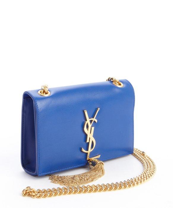 Saint laurent Cobalt Blue Leather Ysl Detail Braided Chain ...
