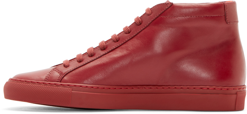 6e1c6ca21e16 Lyst - Common Projects Red Original Achilles Mid-top Sneakers in Red for Men