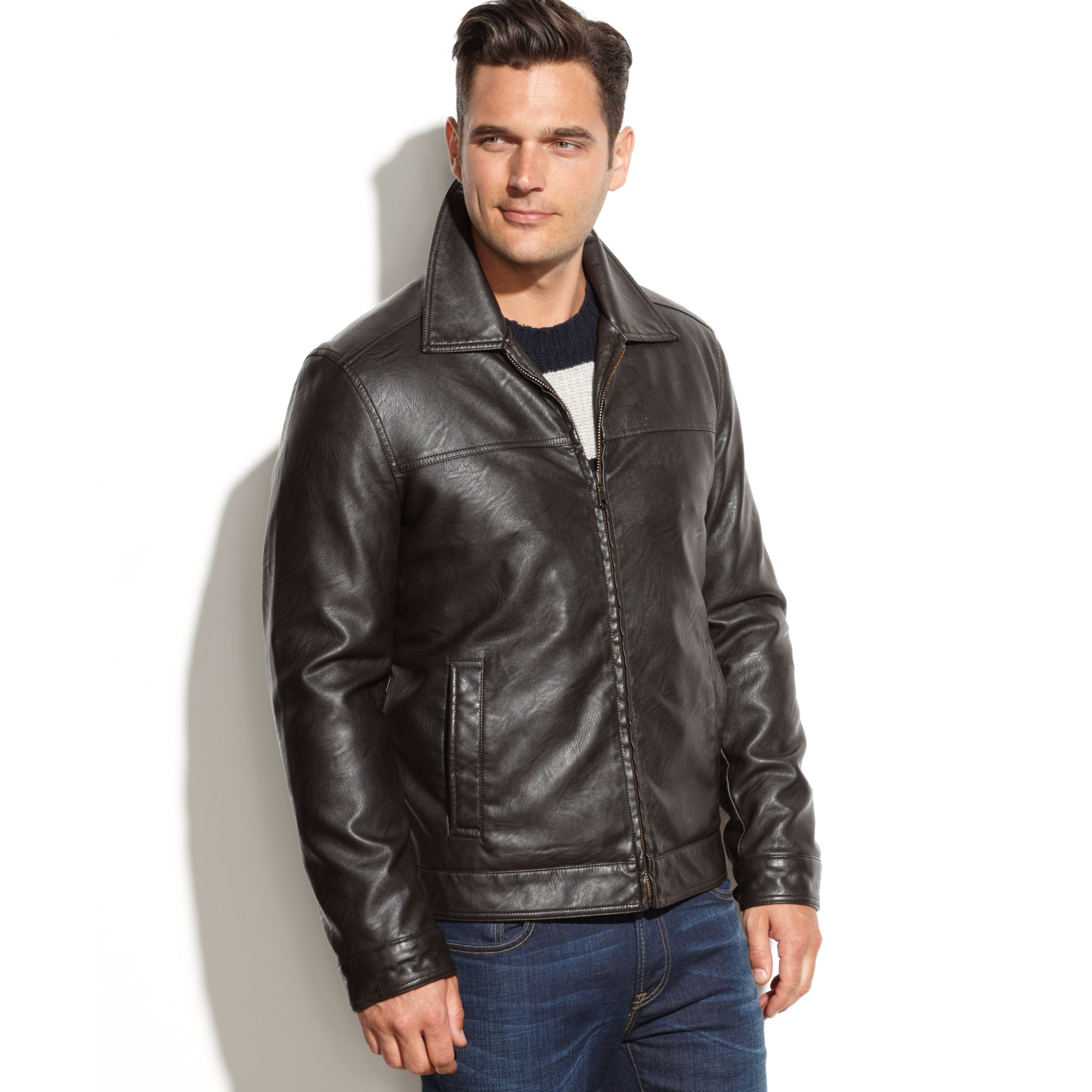 tommy hilfiger classic faux leather jacket in brown for men lyst. Black Bedroom Furniture Sets. Home Design Ideas