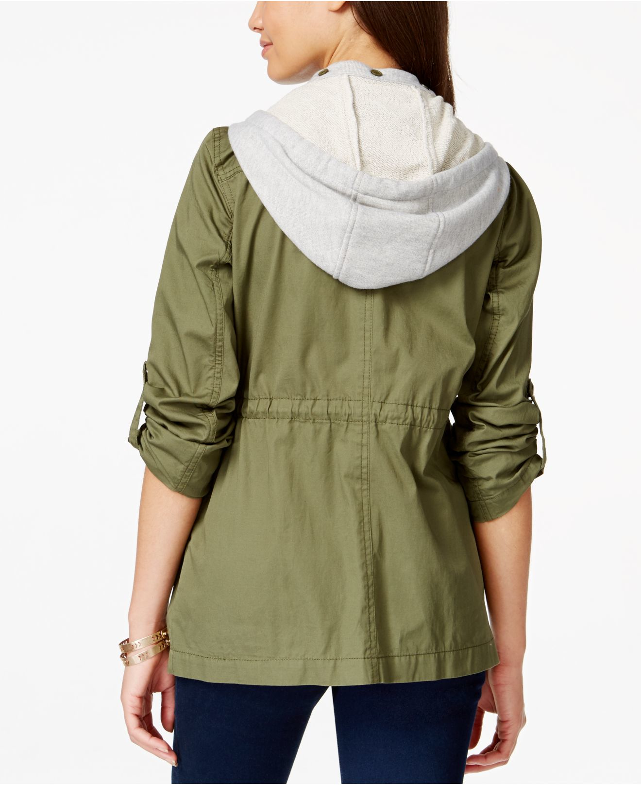 Collection B Contrast Hooded Anorak Jacket In Green Olive
