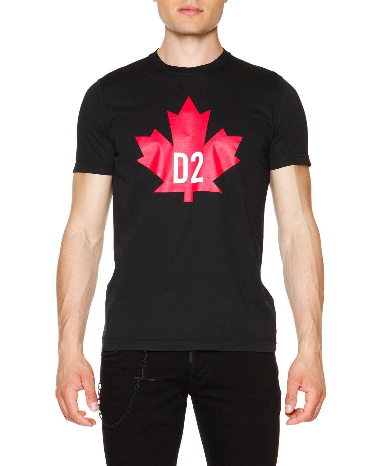 dsquared maple leaf short sleeve graphic t shirt in black for men lyst. Black Bedroom Furniture Sets. Home Design Ideas