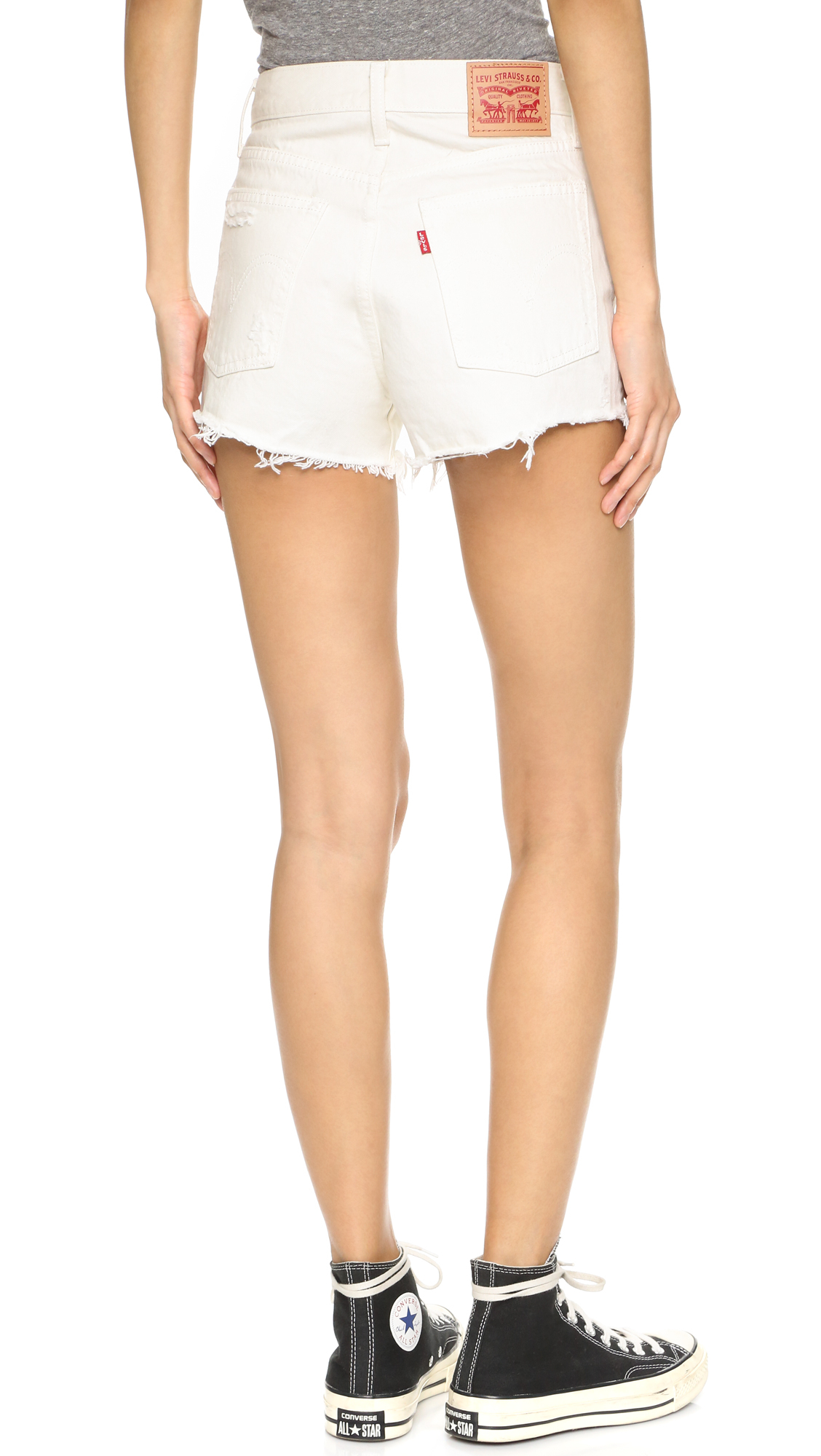 Levi's High Rise Wedgie Shorts in White | Lyst