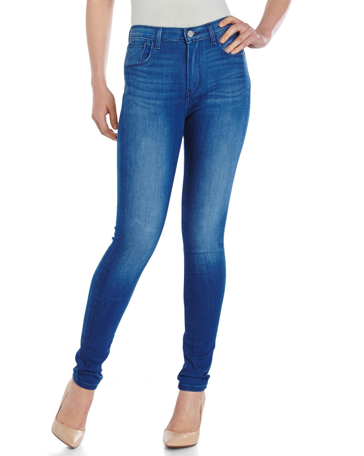 levi 39 s high rise super stretch skinny jeans in blue medium wash. Black Bedroom Furniture Sets. Home Design Ideas