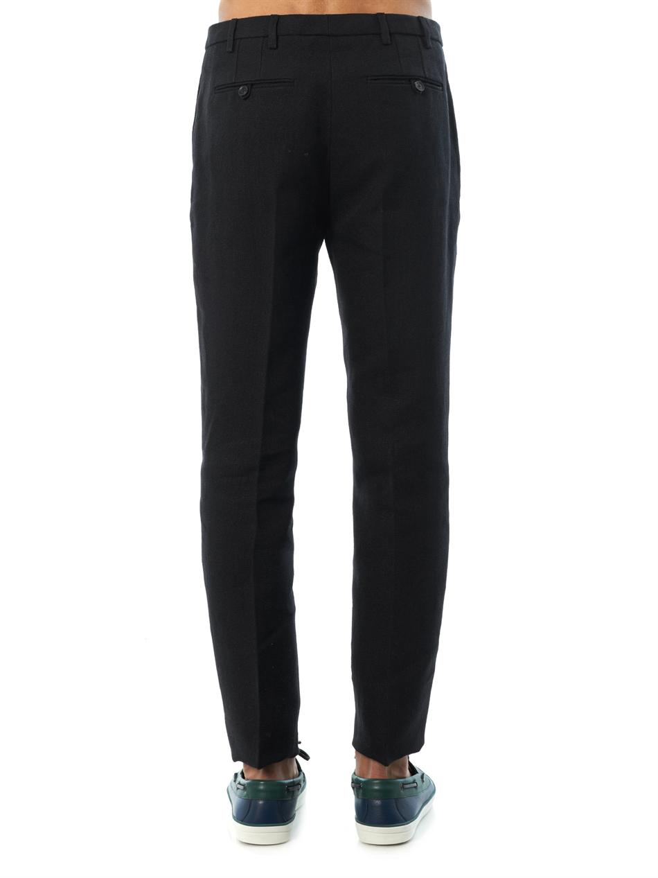 Burberry Prorsum Flat-Front Heavy-Linen Trousers in Blue for Men