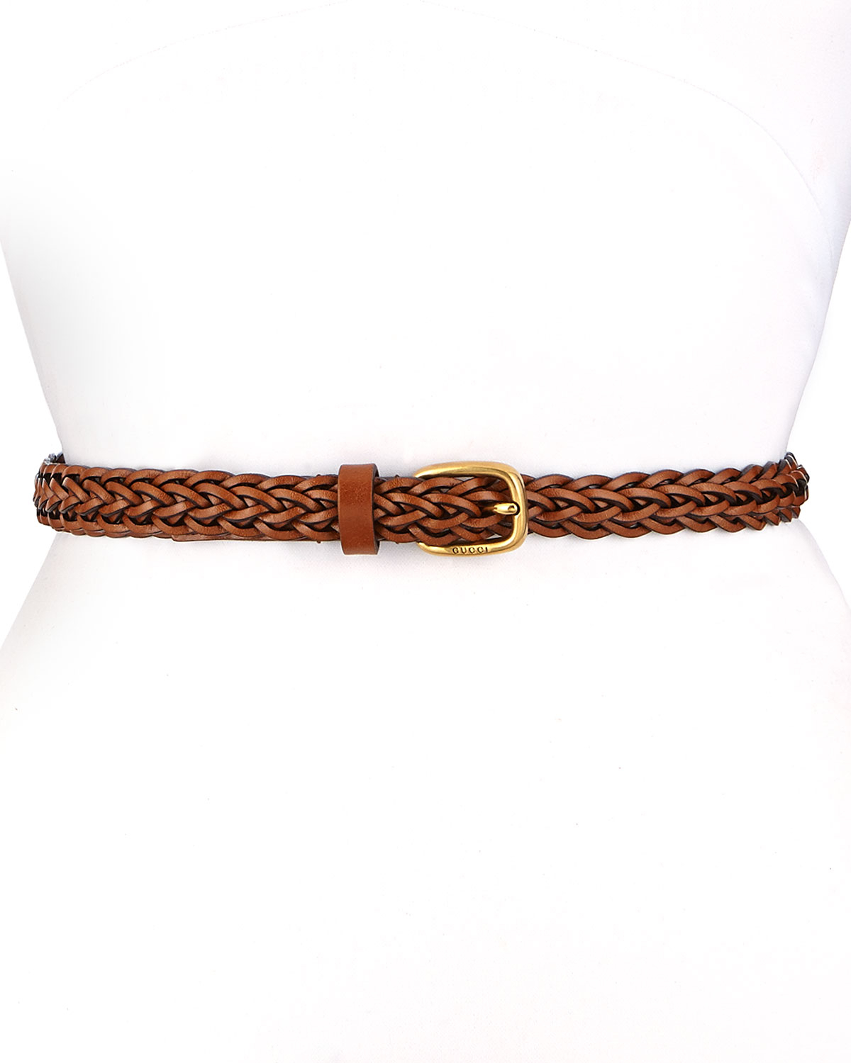 gucci square buckle braided belt in brown lyst
