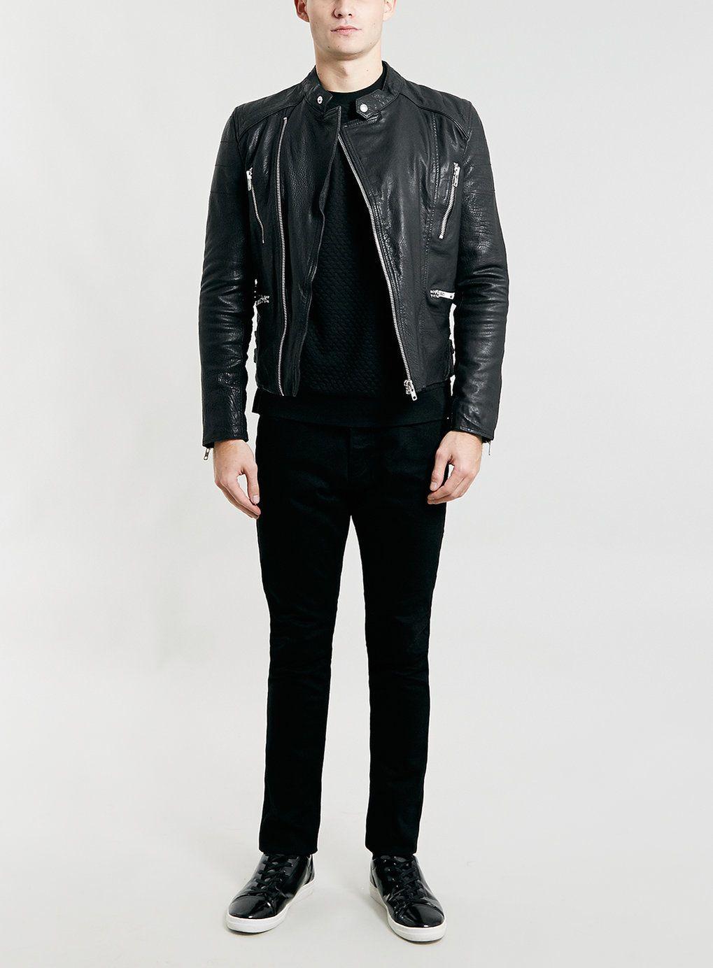 TOPMAN Denim Double Knee Rip Stretch Skinny Jean in Black for Men