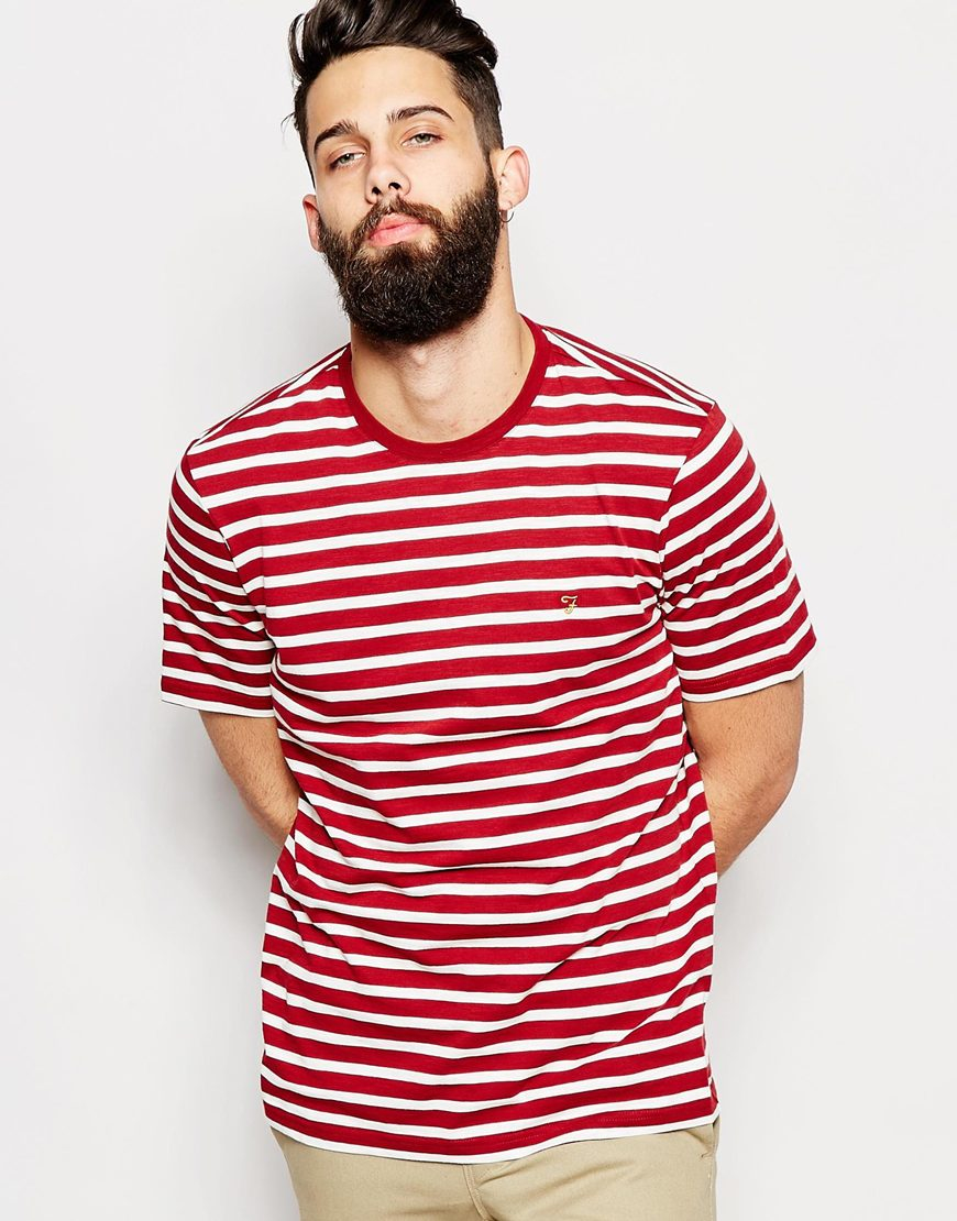 lyst farah t shirt with breton stripe short sleeves in. Black Bedroom Furniture Sets. Home Design Ideas