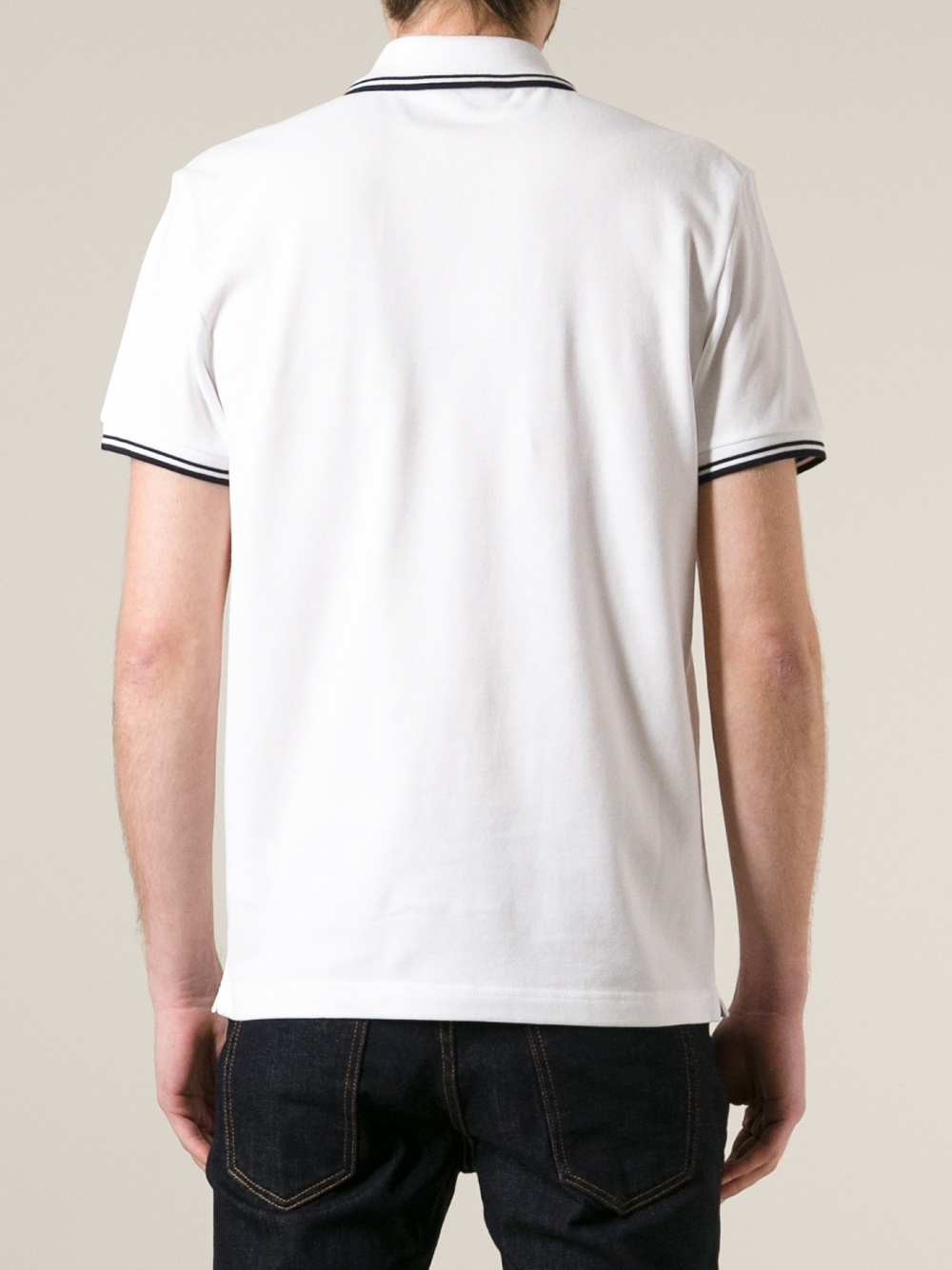 86115b2e1e47 Lyst - Moncler Striped Trim Polo Shirt in White for Men