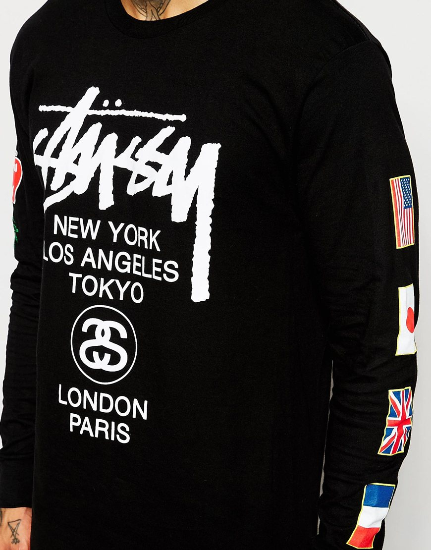 stussy long sleeve t shirt with flags print in black for