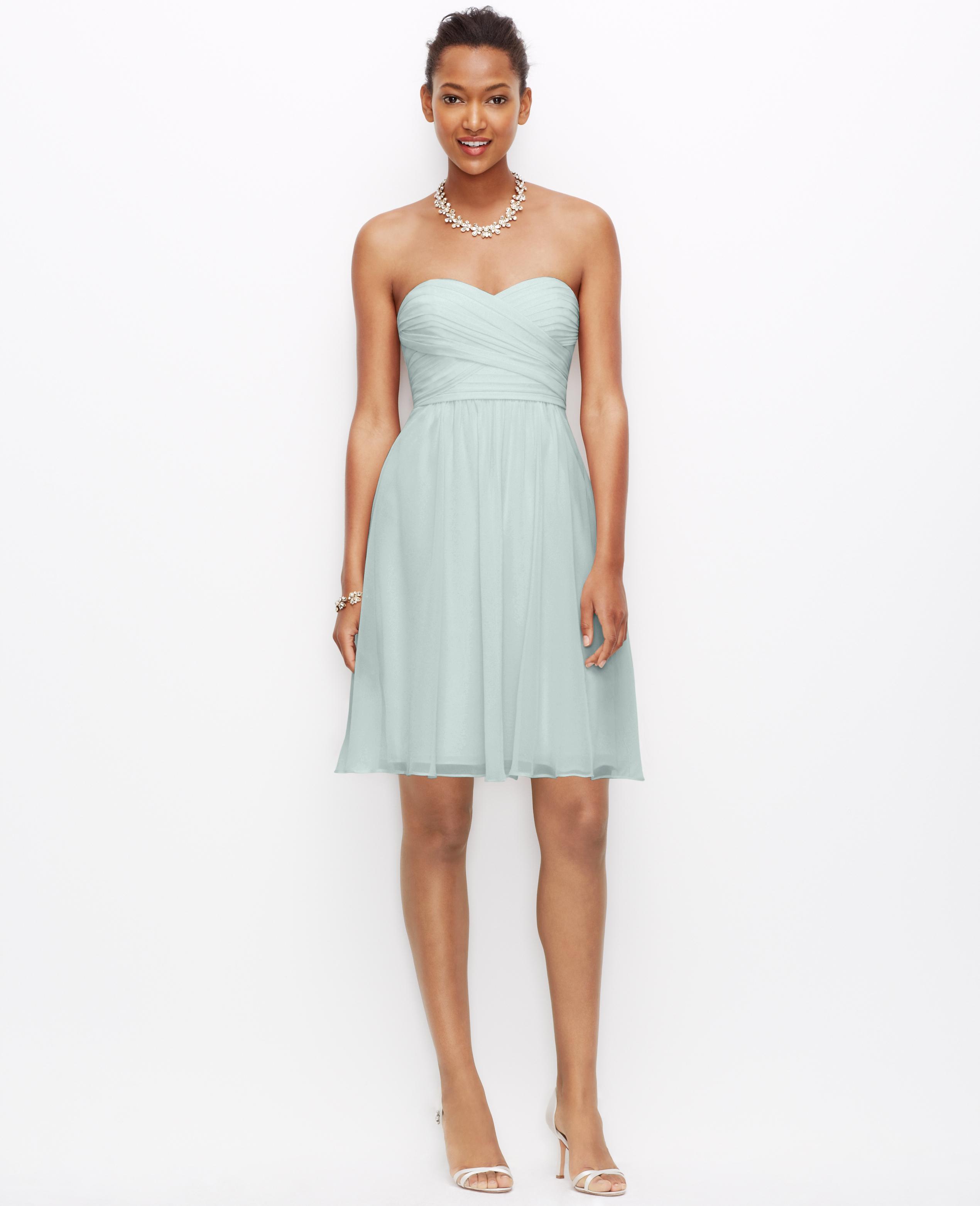 Lyst - Ann Taylor Petite Silk Georgette Strapless Dress in Blue