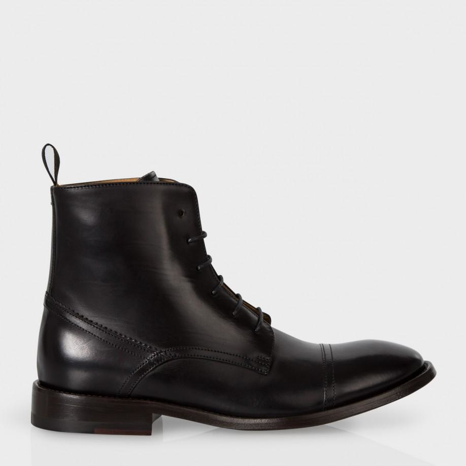 Paul Smith Angus Leather Ankle Boots  in Black
