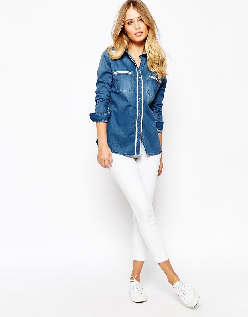 lyst pepe jeans 70 39 s denim shirt in blue. Black Bedroom Furniture Sets. Home Design Ideas