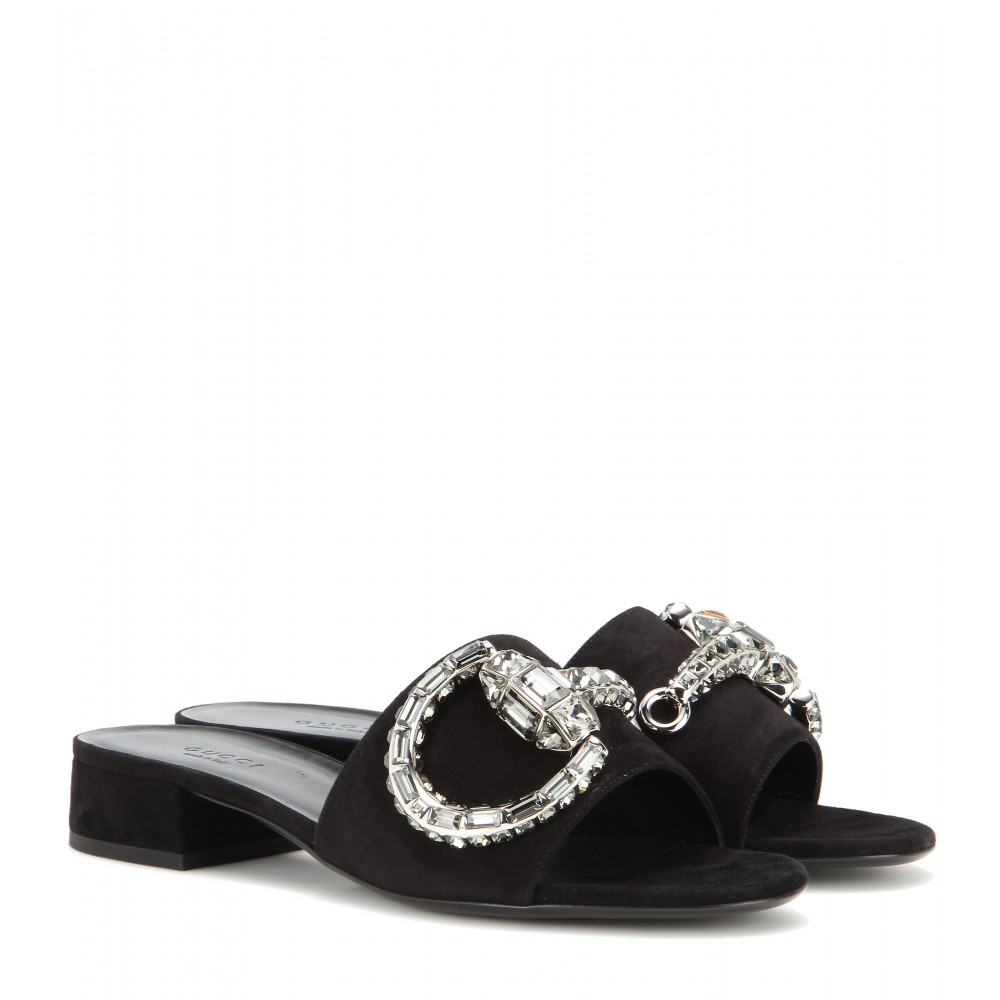 Lyst Gucci Maxime Embellished Suede Sandals In Black
