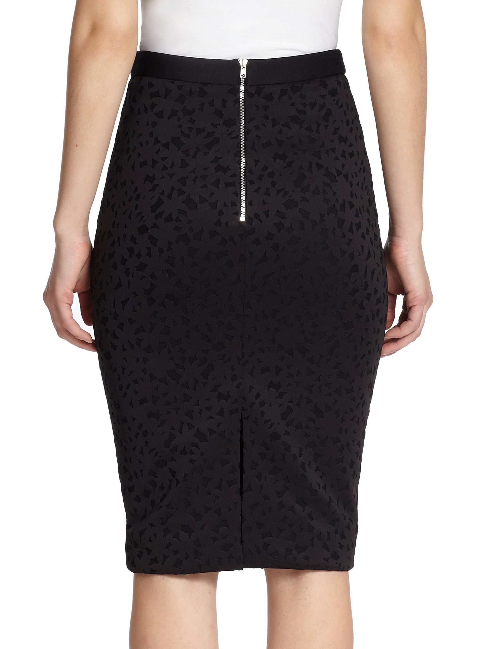 Elizabeth and james Floral Laser-cut Pencil Skirt in Black | Lyst