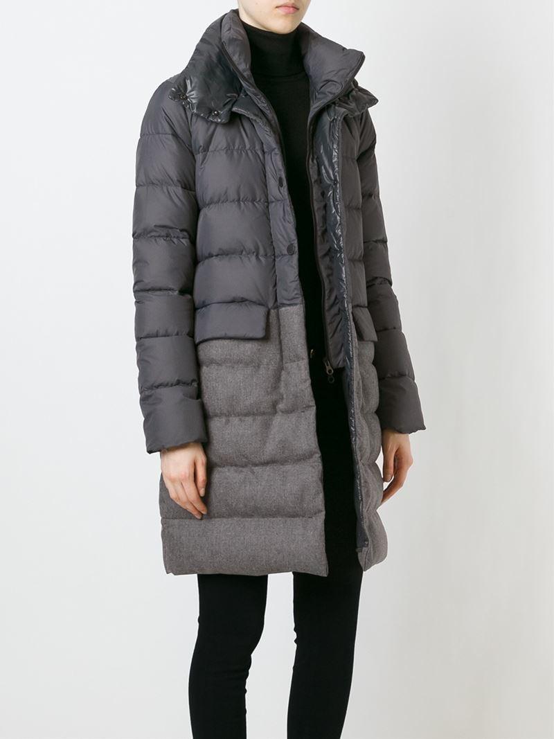 Lyst Duvetica Hooded Padded Coat In Gray