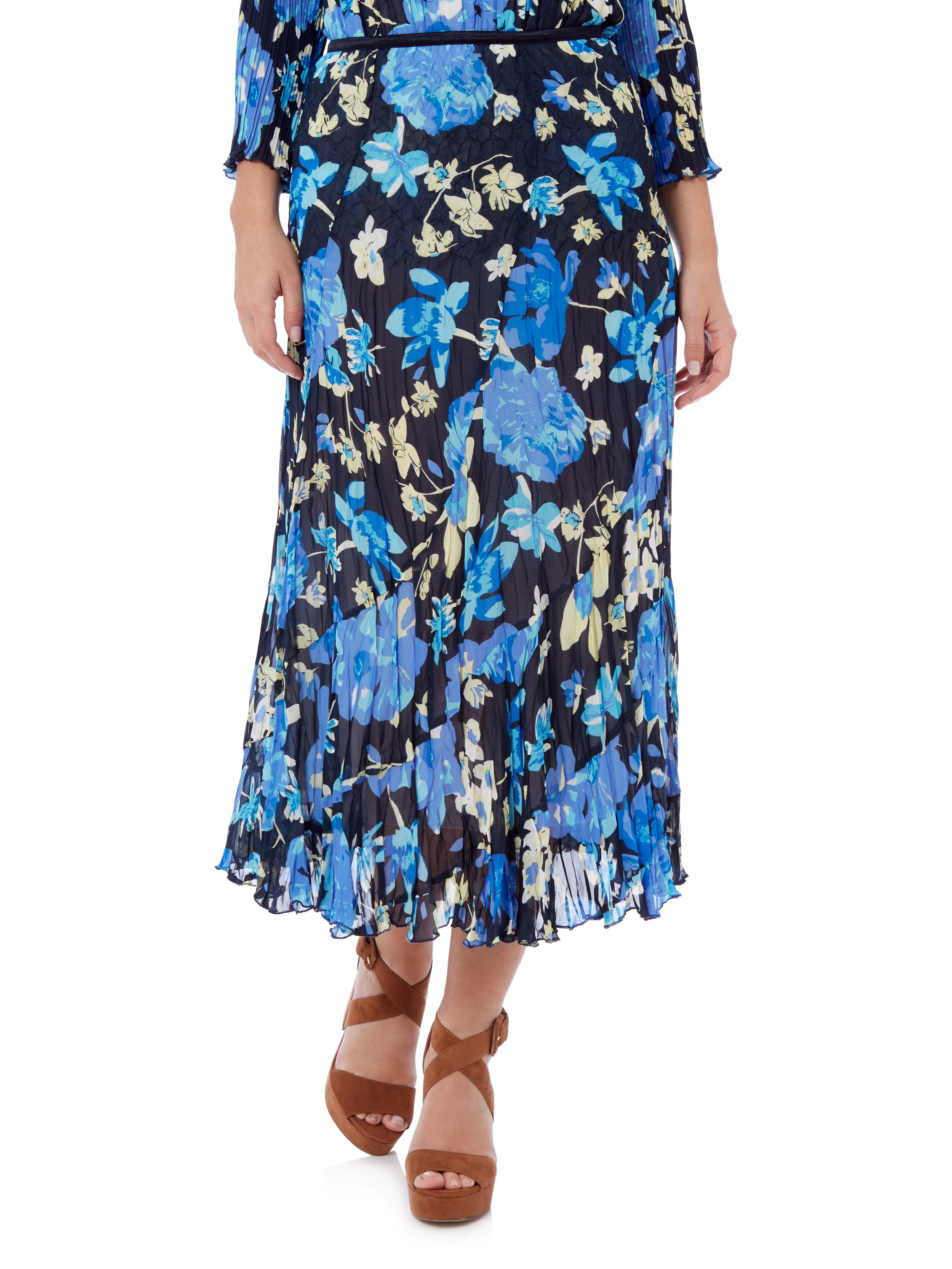 cc floral blue crinkle skirt in blue lyst