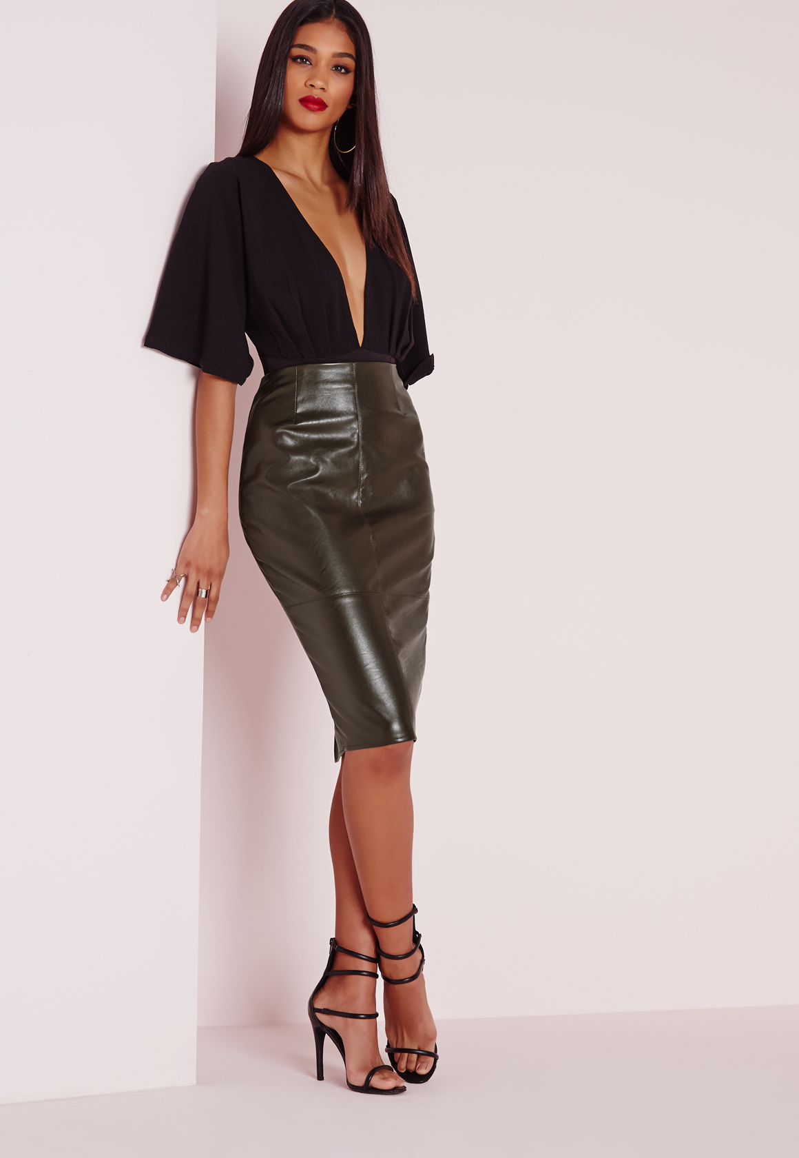 Lyst - Pepe Jeans Leather Look Mini Skirt in Black