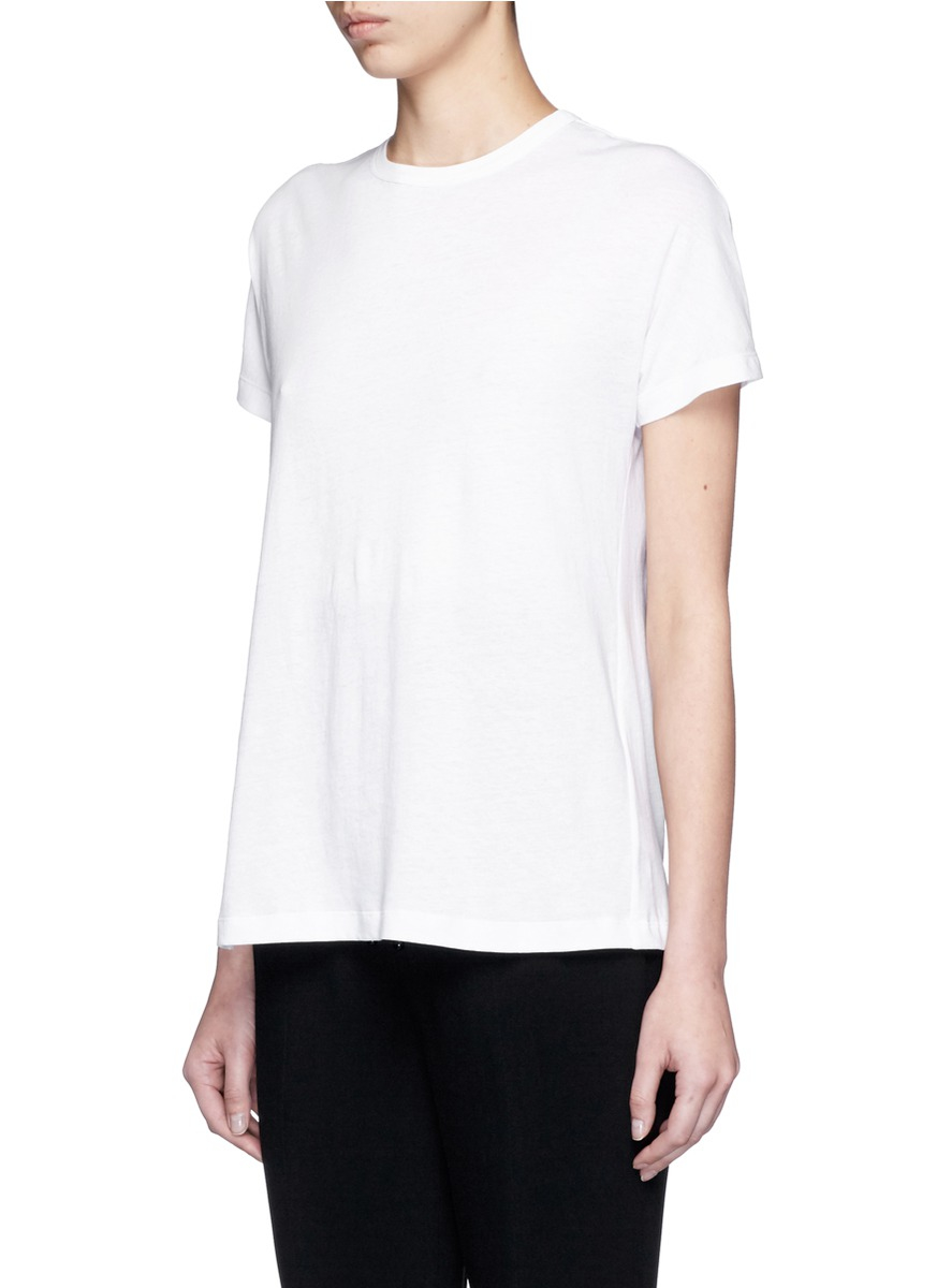 Proenza schouler back tie cotton t shirt in white lyst for How to make a tie back shirt