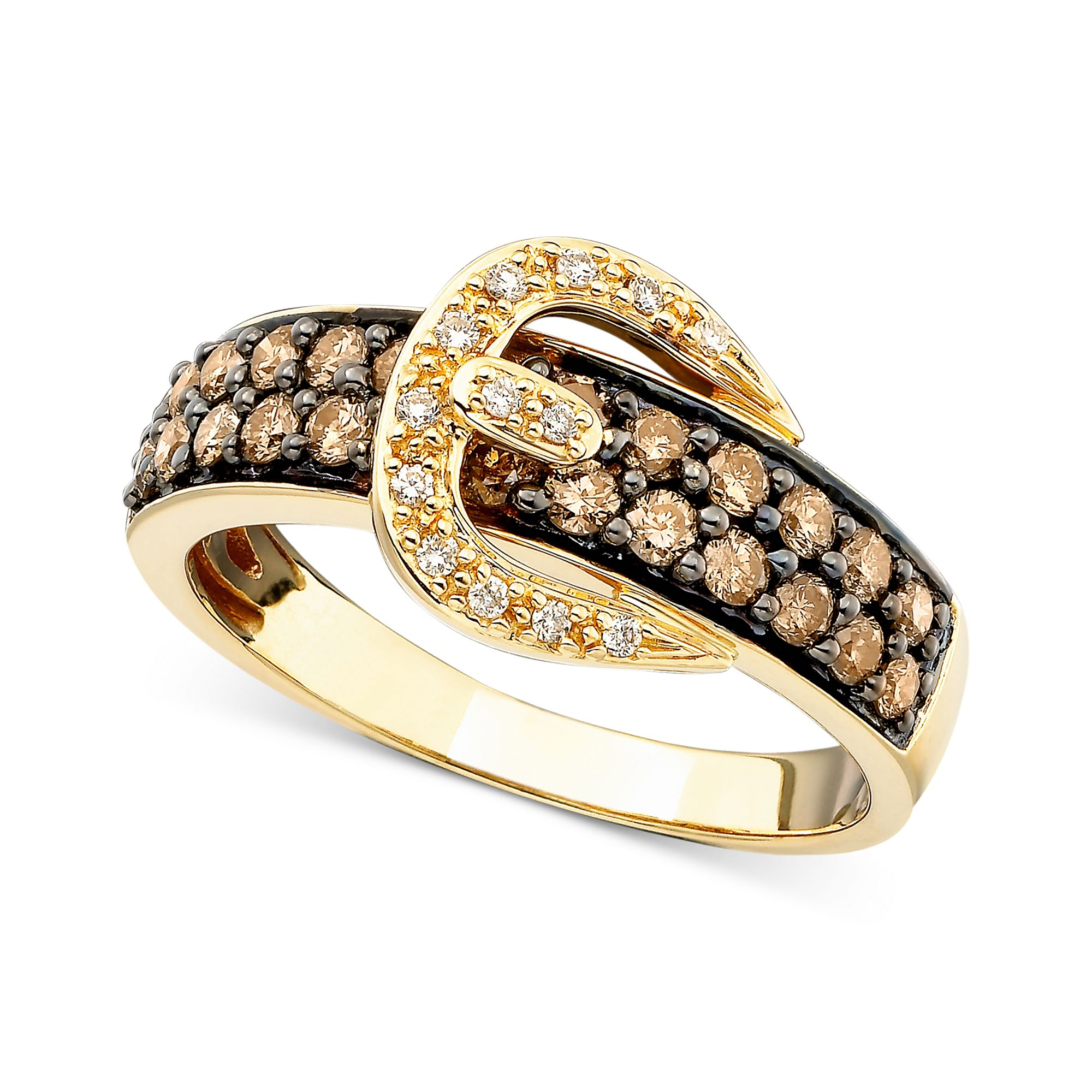 Chocolate Diamond Buckle Ring White Gold