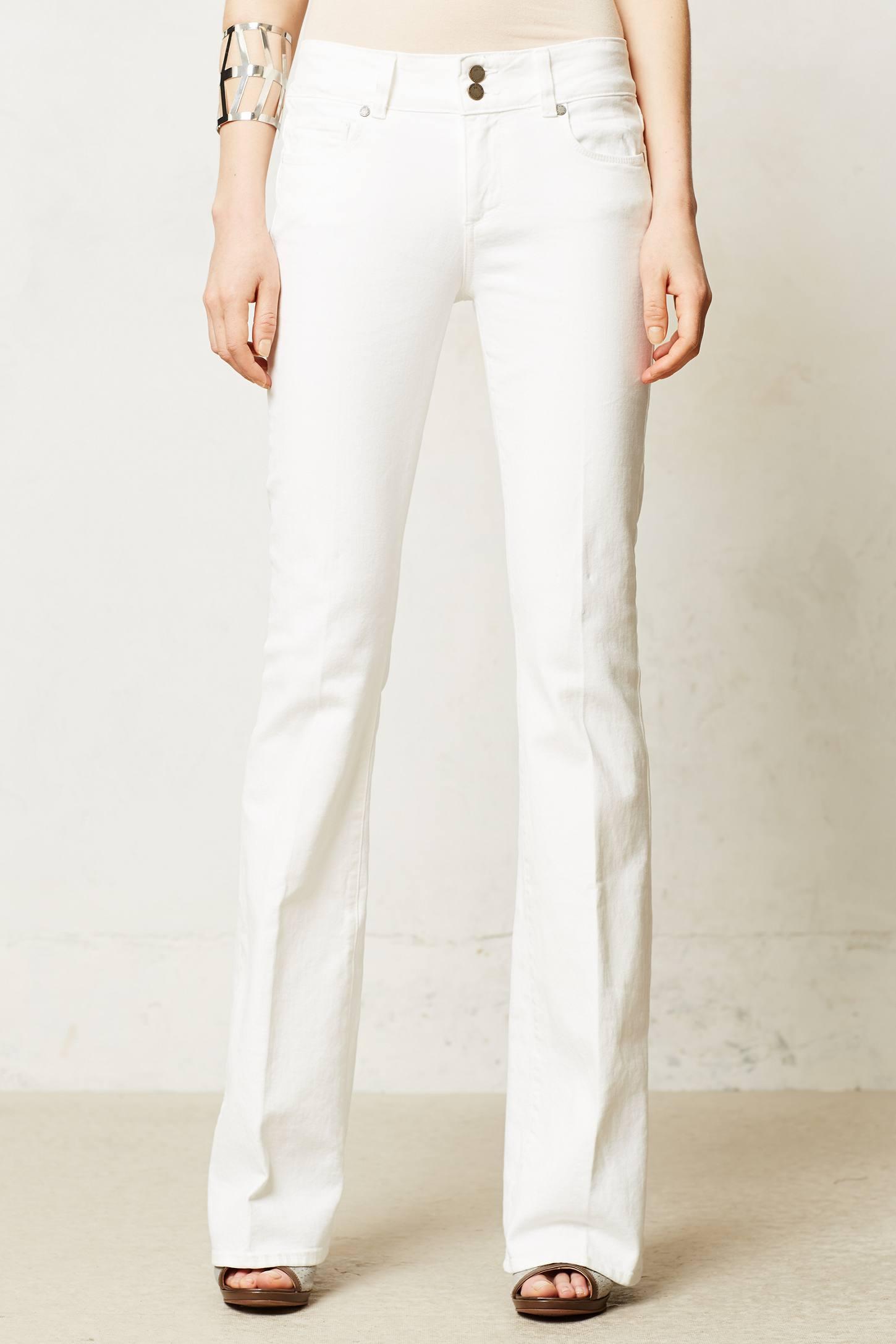 White denim bootcut jeans