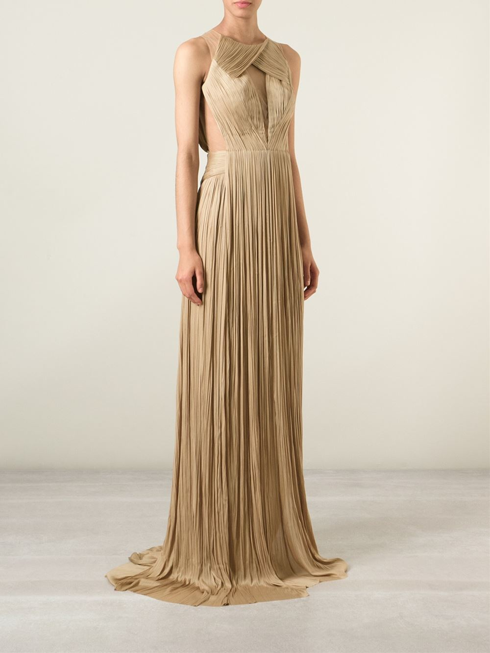 Maria Lucia Hohan Mesh-Panel Pleated Gown In Metallic - Lyst-1427