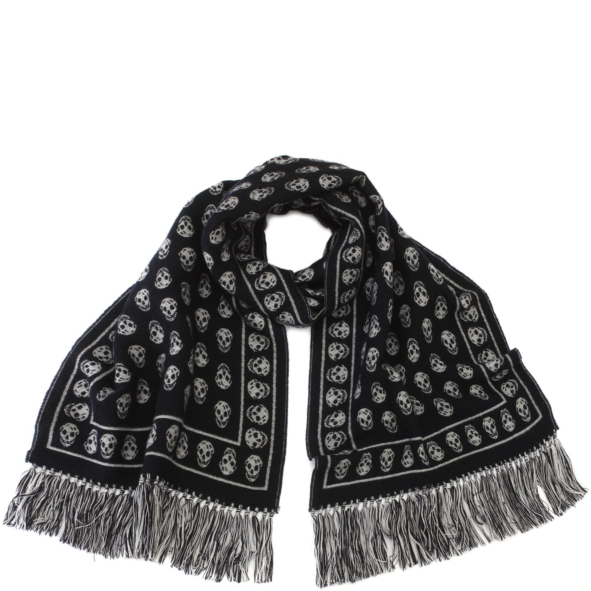 07894c8c2 Alexander McQueen Wool And Silk Large Skull Scarf in Blue for Men - Lyst
