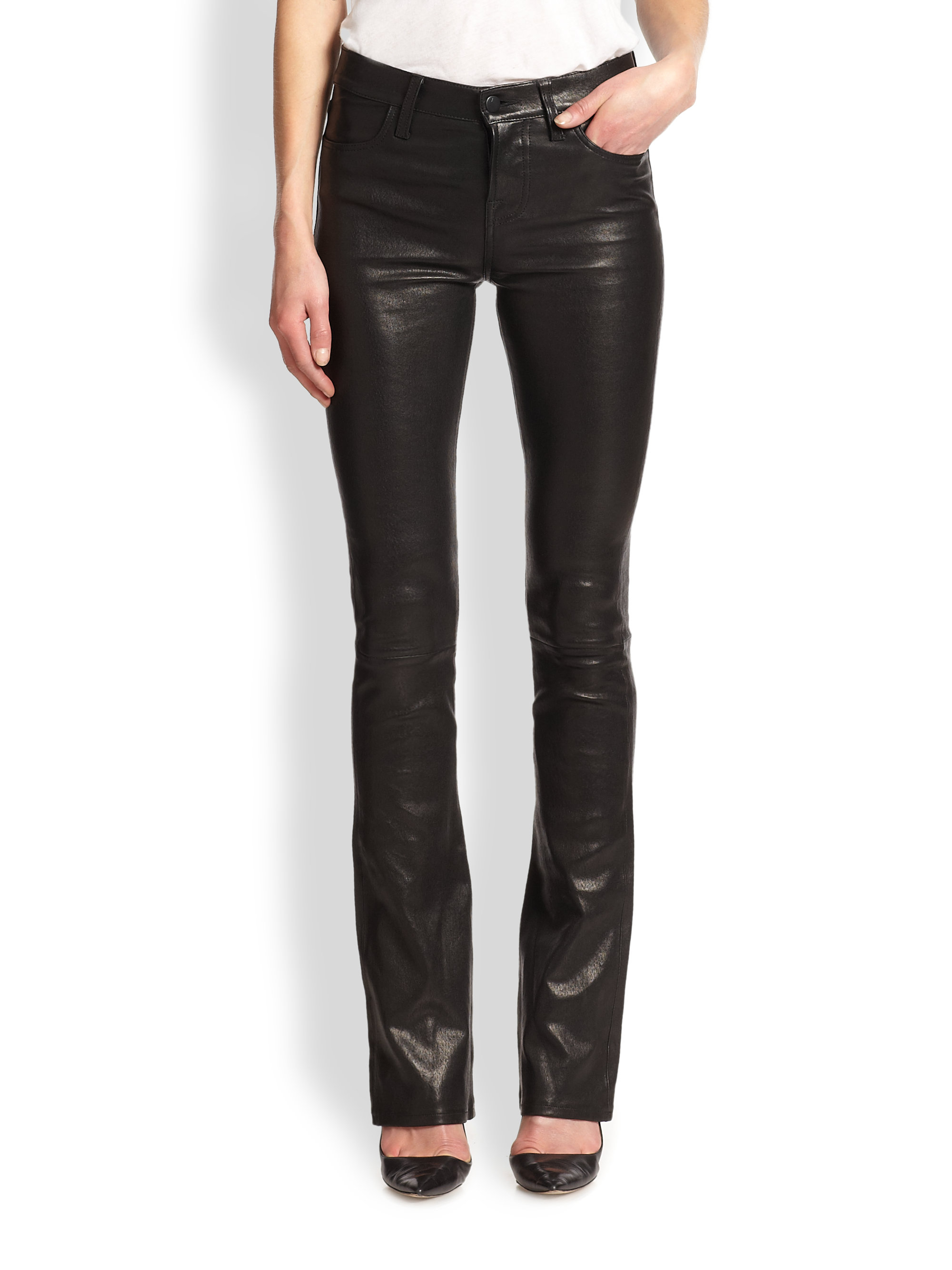 J brand Remy Leather Bootcut Jeans in Black | Lyst