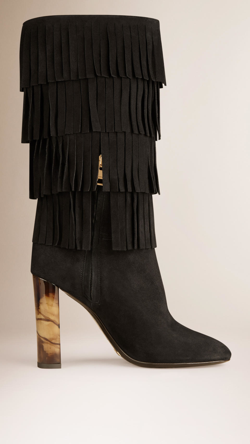 burberry fringe detail suede boots in black lyst