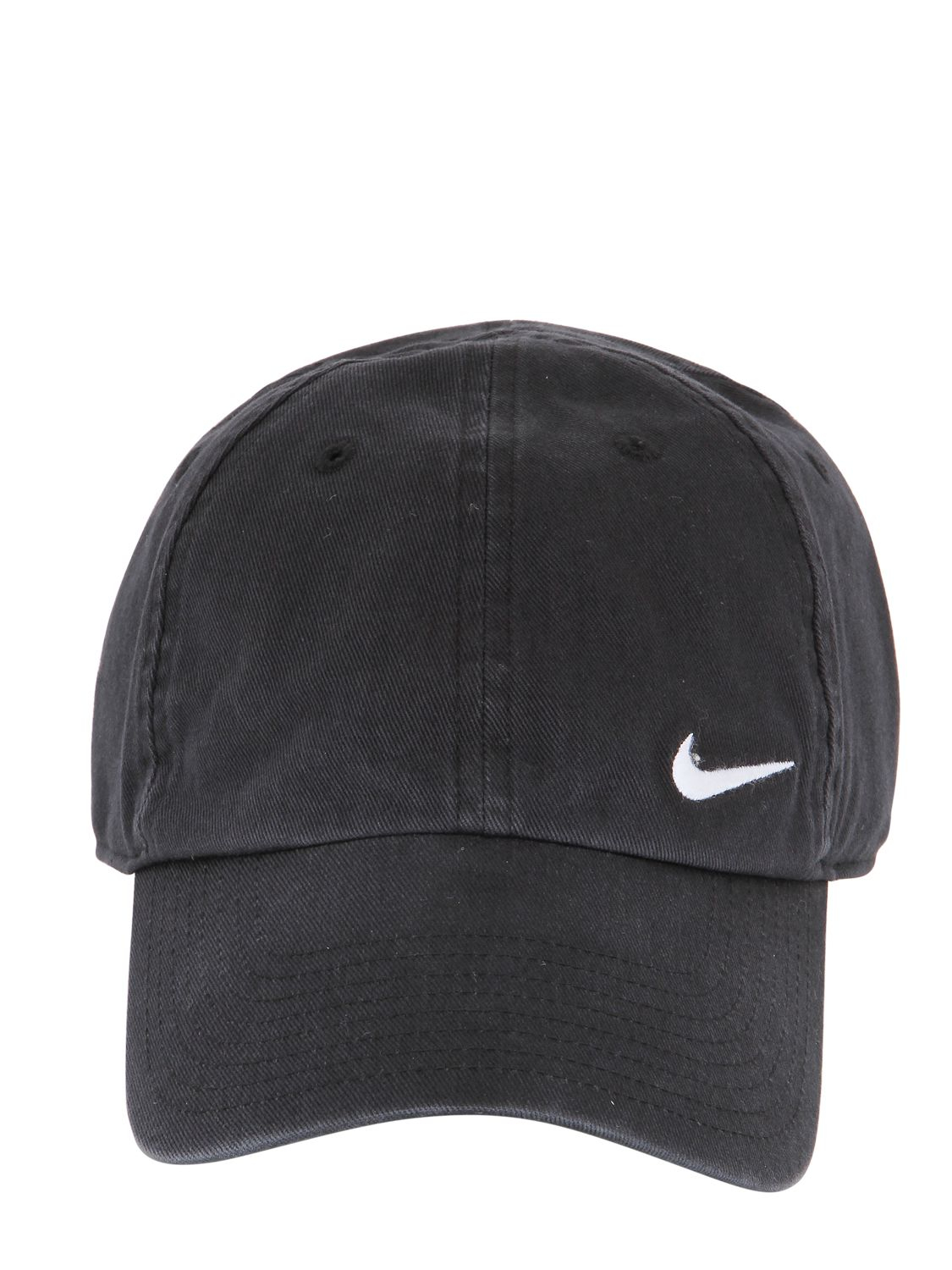 nike swoosh cotton baseball hat in black for lyst