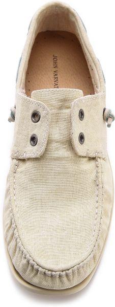John Varvatos Schooner Boat Shoes in Beige for Men (Ivory