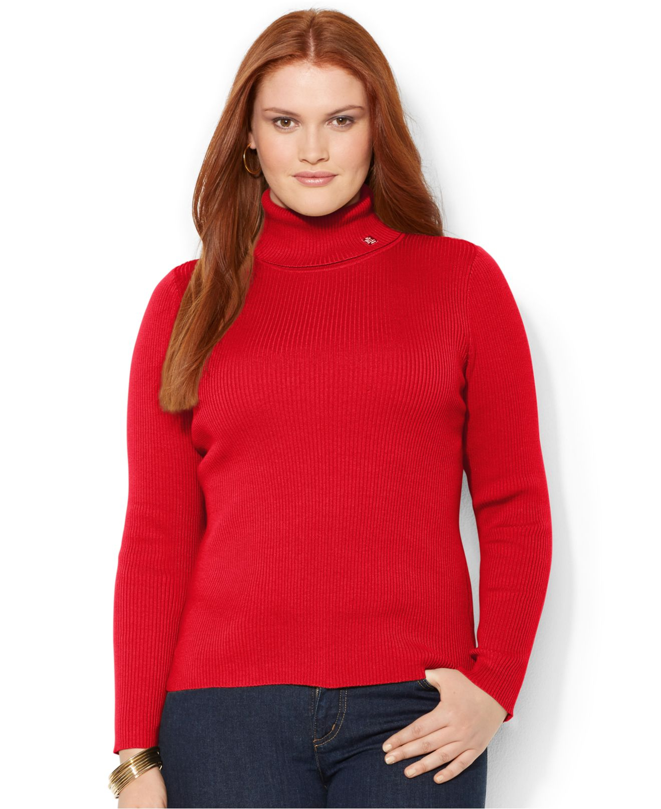 Lauren by ralph lauren Plus Size Ribbed Turtleneck Sweater in Red ...