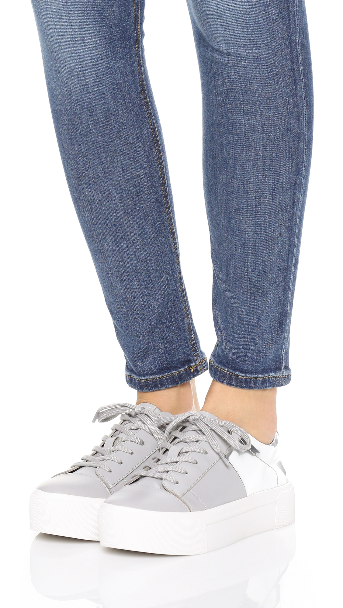 DKNY Leather Bari Platform Lace Up Sneakers in Cool Grey/Silver (Grey)