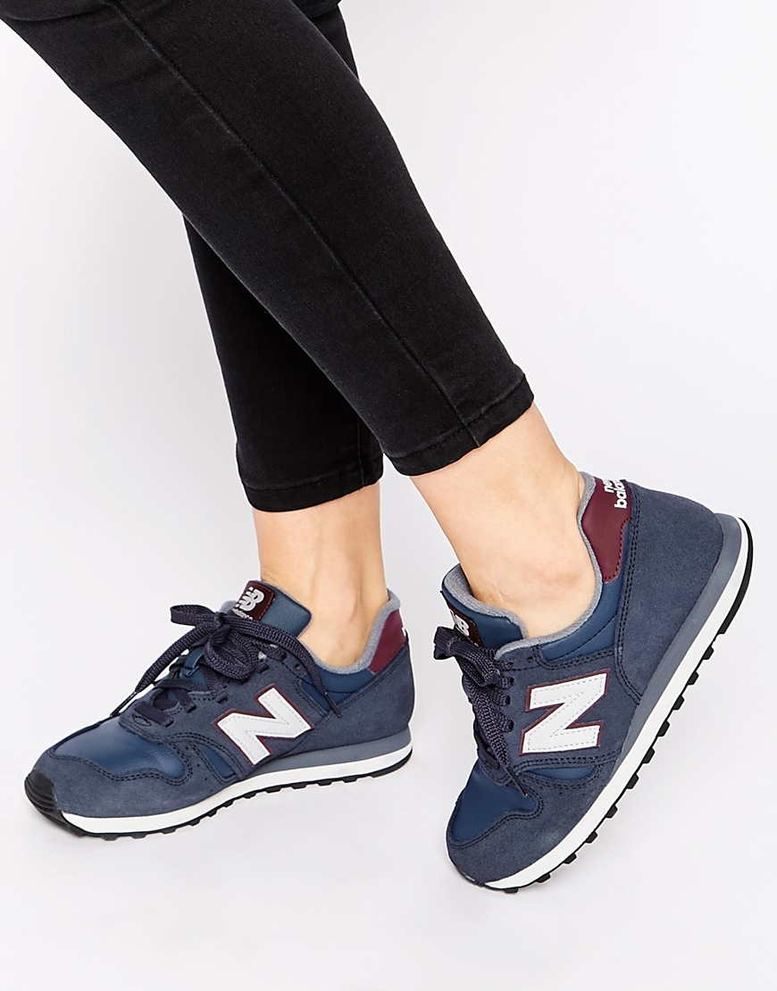 New Balance Blue 373 Navy & Burgundy Suede Trainers