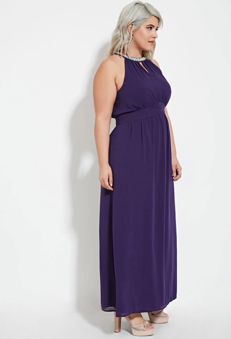 Plus Size Pearl Embellished Maxi Dress