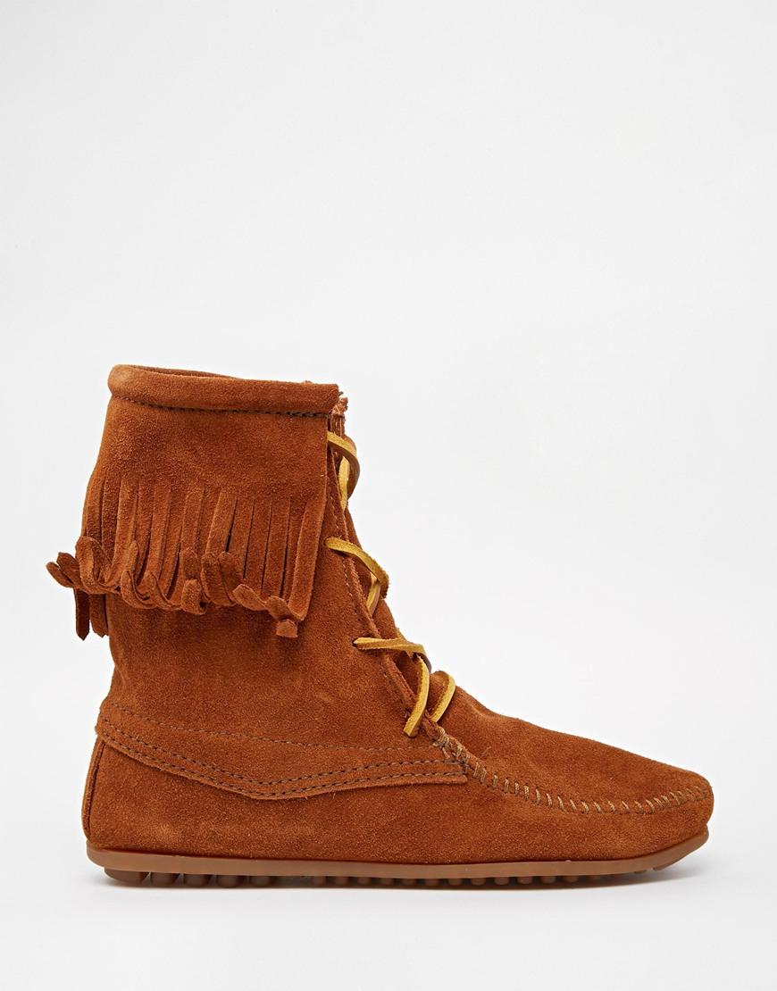 minnetonka brown suede trer boots in brown lyst
